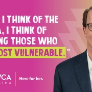"""Mayor Michael Fougere supports the work or YWCA Regina and the """"Here for Her"""" movement"""