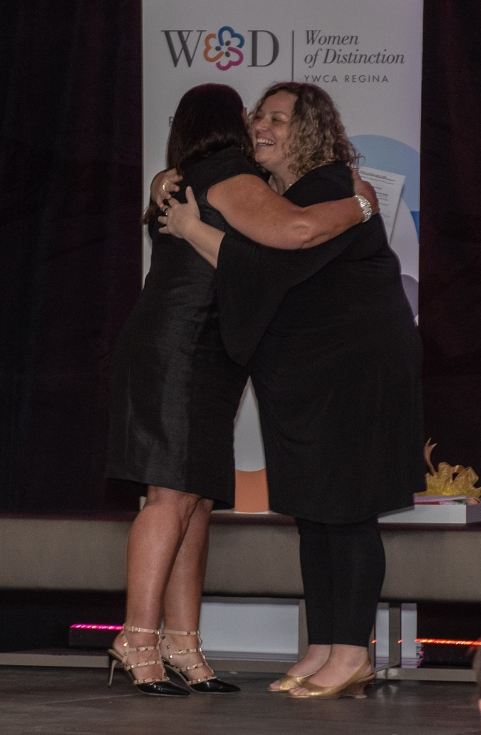 YWCA Regina CEO congratulates Dr. Vianne Timmons, winner of Lifetime Achievement Awards 2019