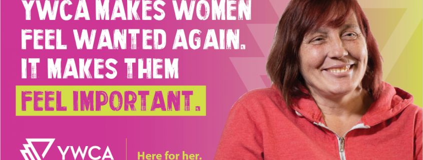 """Natalie Desjarlais image and quotation re: YWCA Regina """"Here for Her"""" campaign"""