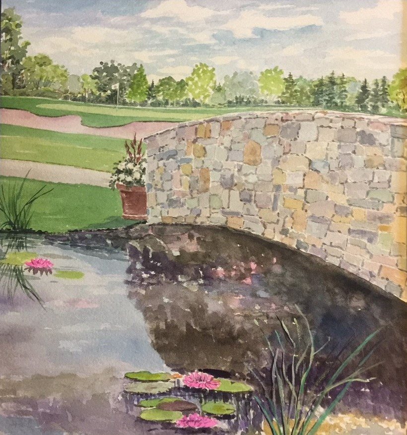 Painting of the 16th hole of the Royal Red Golf Course by Rose Odeling